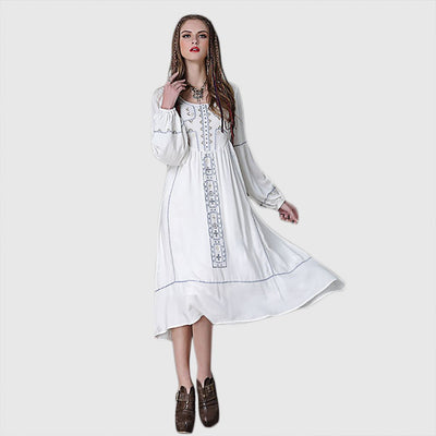 Puff Sleeve Round Neck Pretty Tribal Embroidery Dress