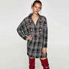 Cuff Sleeve Embroidery Edgy Plaid Dress