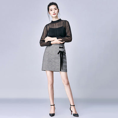High Waist Ribboned Sweet Plaid Skirt