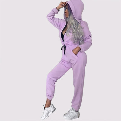Long Sleeve Hooded Sporty Plain Jumpsuit