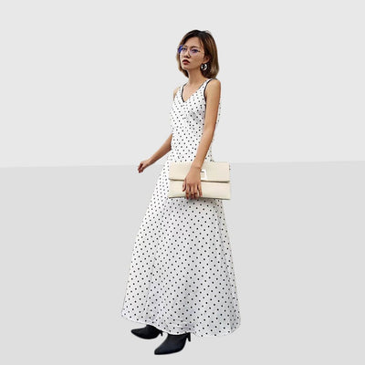 Sleeveless Bow Beachy Polka Dot Dress
