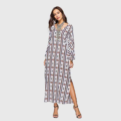 Trumpet Sleeve V Neck Tribal Print Tunic Long Smock