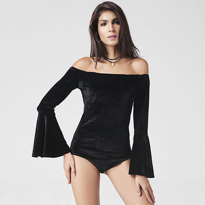 Trumpet Sleeve Off Shoulder Party Plain Bodysuit
