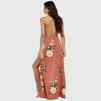 Sleeveless Deep V Neck Slit Floral Print Sun Long Dress