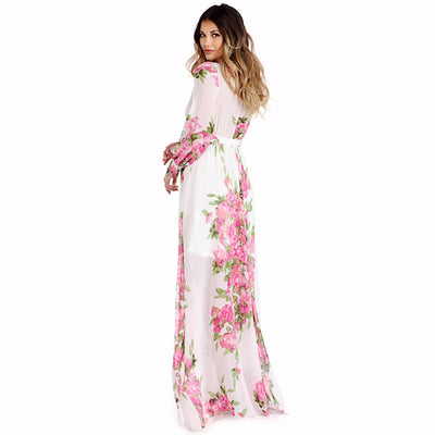 Long Sleeve Deep V Neck Romantic Floral Print Dress