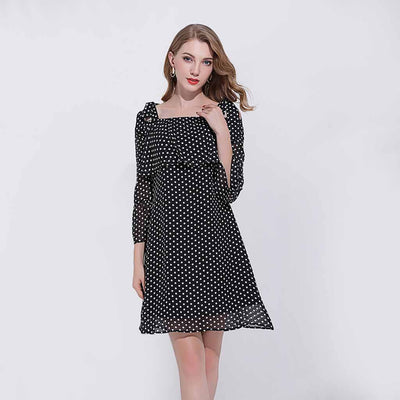 Trumpet Sleeve Ruffle Flirty Polka Dot Dress