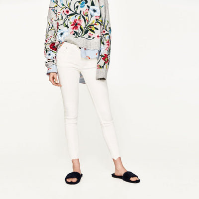 Long Sleeve Round Neck Edgy Floral Embroidery Sweater