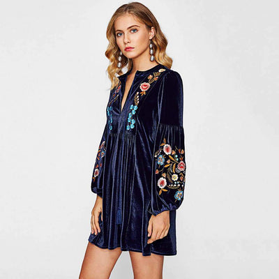 Puff Sleeve Tasseled Stunning Floral Embroidery Smock