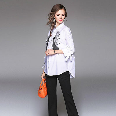 Bracelet Sleeve Bow Edgy Tribal Embroidery Shirt