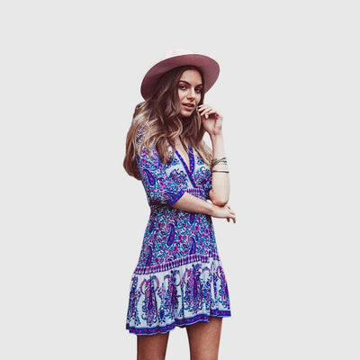 3/4 Length Sleeve Bow Boho Paisley Dress