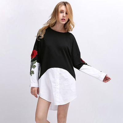 Cuff Sleeve Round Neck Unique Floral Embroidery Dress