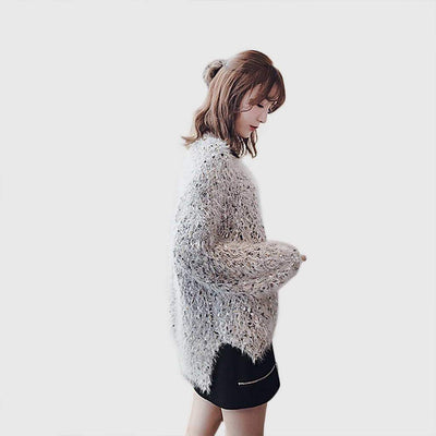 Long Sleeve Sequin Cozy Plain Sweater