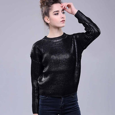 Long Sleeve Round Neck Sparkly Plain Sweater