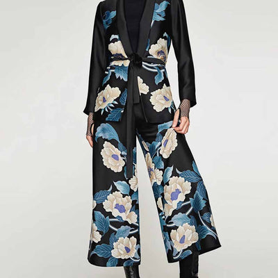 Medium Rise Wide Leg Oriental Floral Print Pants
