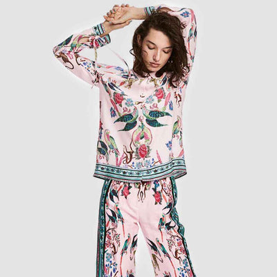 Regular Waist Wide Leg Feminine Floral Print Pants