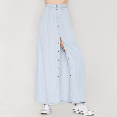 Regular Waist Popper Cool Plain Skirt