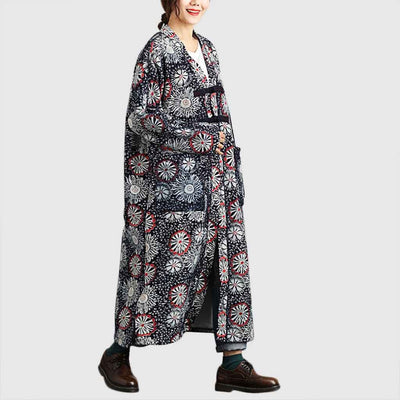 Long Sleeve Frogging Oriental Floral Print Coat