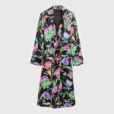 Long Sleeve Lapels Whimsical Floral Print Jacket