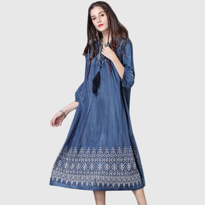 3/4 Length Sleeve Tasseled Hippy Tribal Embroidery Dress
