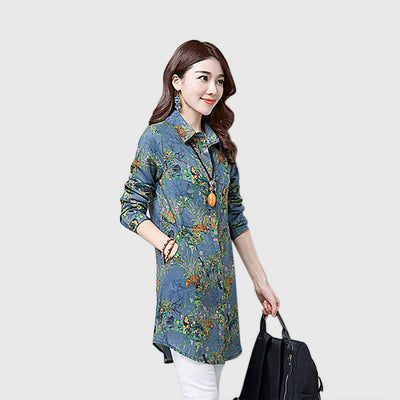 Cuff Sleeve Shirt Collar Pretty Floral Print Shirt