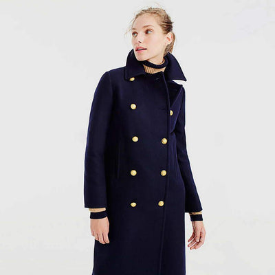 Long Sleeve Button Classic Plain Coat