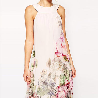 Sleeveless Round Neck Whimsical Floral Print Dress