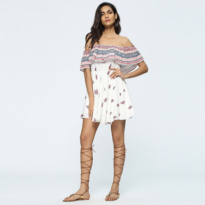 Short Sleeve Off Shoulder Beachy Tribal Print Dress