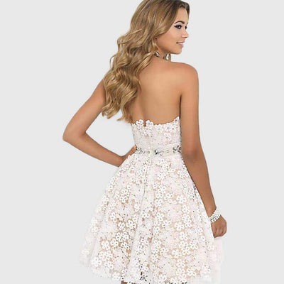 Sleeveless Off Shoulder Pretty Floral Embroidery Dress