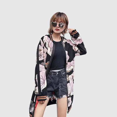 Long Sleeve Round Collar Funky Floral Print Jacket