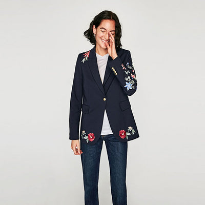Long Sleeve Applique Classic Floral Embroidery Blazer