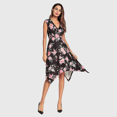 Cap Sleeve V Neck Colorful Floral Print Dress