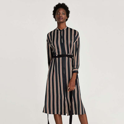 3/4 Length Sleeve Round Collar Floaty Striped Dress