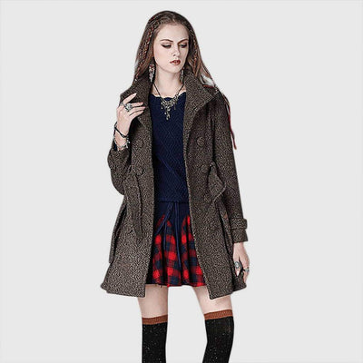 Buckle Sleeve Pockets Stylish Plain Coat