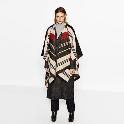 3/4 Length Sleeve Collarless Unique Striped Poncho