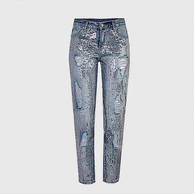 Regular Waist Studded Sparkly Distressed Jeans