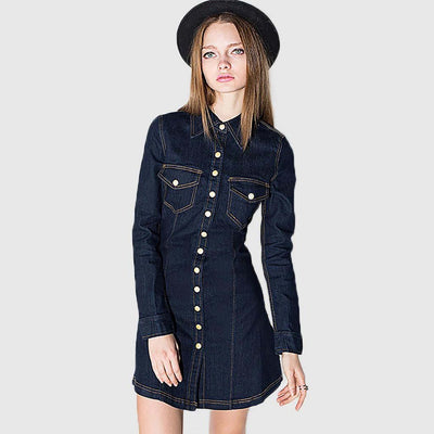 Long Sleeve Button Classic Plain Dress