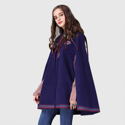 Sleeveless High Neck Sweet Floral Embroidery Cape