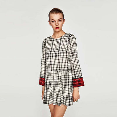 Long Sleeve Round Neck Grungey Plaid Dress