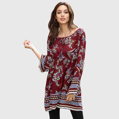 Bell Sleeve Round Neck Boho Floral Print Dress