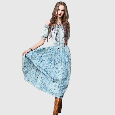 Puff Sleeve Pockets Boho Tie Dye Dress