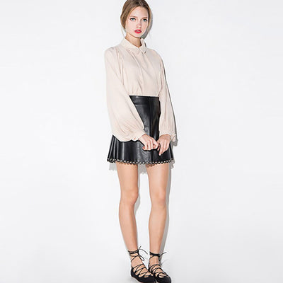 Regular Waist Eyelet Rocking Plain A-Line Skirt