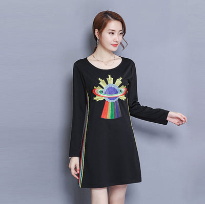 Long Sleeve Round Neck Kitsch Abstract Print Dress