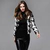 Long Sleeve Hooded Sporty Houndstooth Jacket