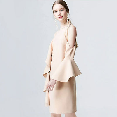 Trumpet Sleeve Ruffle Chic Plain Dress