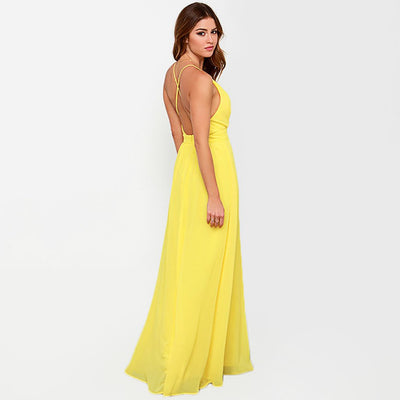 Sleeveless Deep V Neck Bright Plain Gown