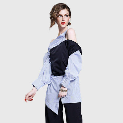 Cuff Sleeve Cutout Unique Color Block Shirt