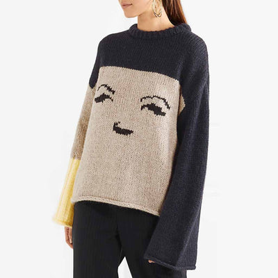 Trumpet Sleeve Round Neck Funky Graphic Print Sweater
