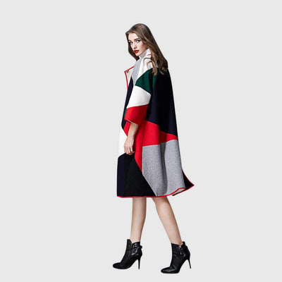 3/4 Length Sleeve Trimmed Modern Color Block Coat