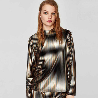Long Sleeve Turtle Neck Luxe Striped Sweater