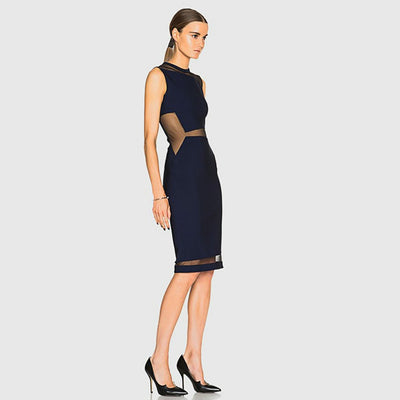 Sleeveless Panelled Party Plain Dress